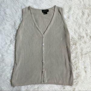 J. Crew • vintage silk sweater vest tan medium